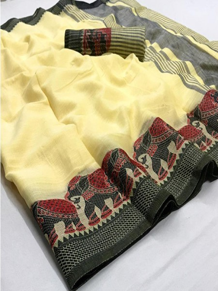 Eye-Catching Look Yellow color Soft Linen Silk Saree with Beautiful Hathi Border