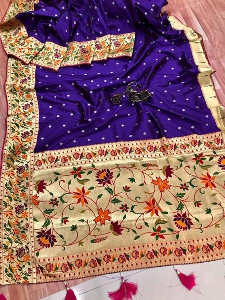 Function wear Blue color Pure Kanchipuram Silk Saree
