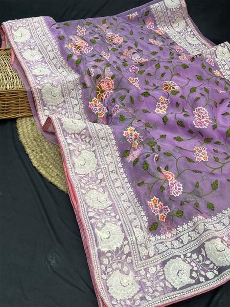 Latest Designer Organza Silk Saree with beautiful pallu and border of chikankari work