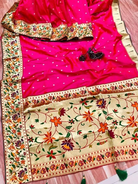 Function wear Pink color Pure Kanchipuram Silk Saree
