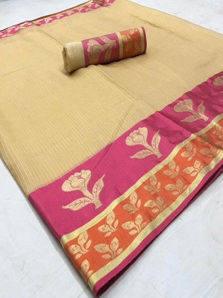 Stunning Look Cream Color Dola Dodiya Cotton Silk Saree
