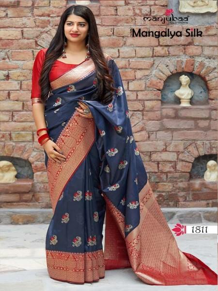 Wedding Season Blue Colour Soft Silk weaving Saree