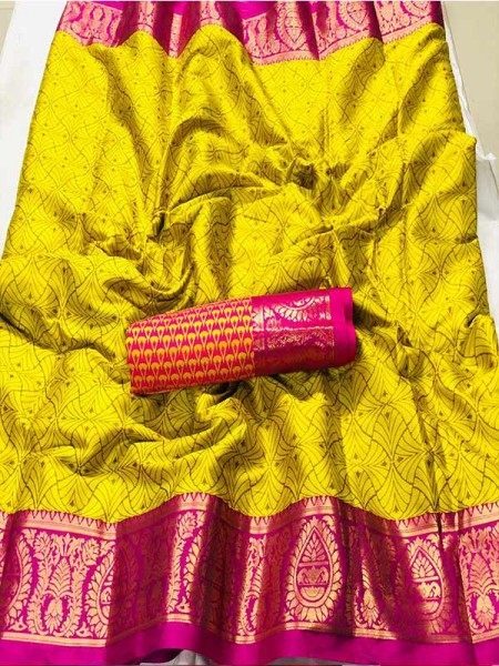 New Trending Yellow Color Cotton Silk Saree