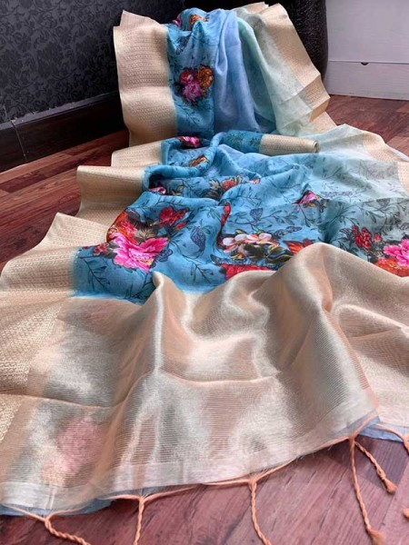 Stunning SkyBlue Color Handloom Linen Saree With Digital Printed With Rich Zari Wooven Pallu