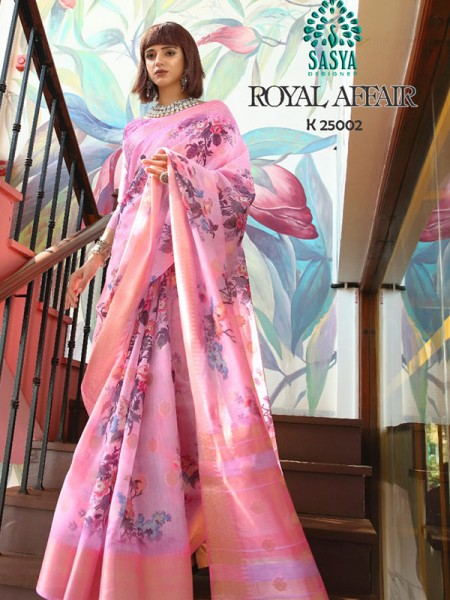 Stunning Look Pink Color Pure Cotton Printed Saree with Jacquard weaving Border