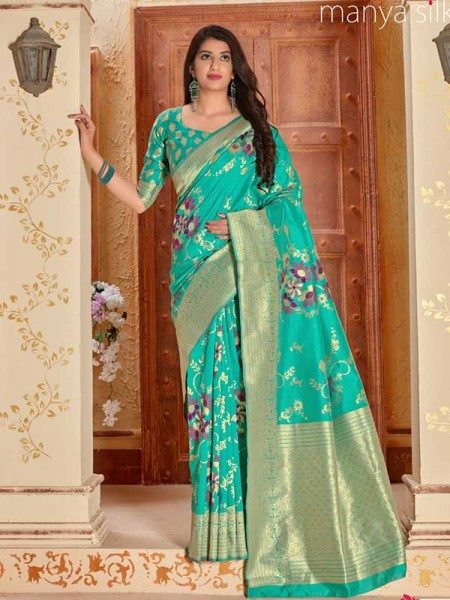 Wedding Designer Cyan Color Pure Silk weaving Saree