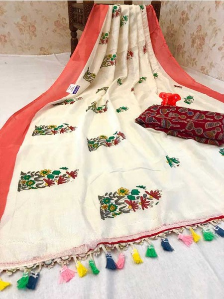 Wedding Look Cream Color Soft Linen Jute Silk Saree