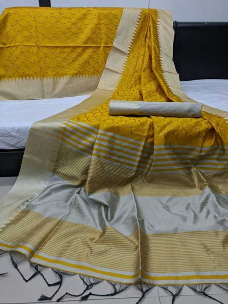 Beautiful Golden Handloom Raw Silk Saree With Embroidered Cut Work All Over
