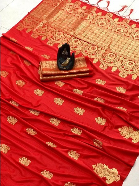 Graceful combination Red Color Lichi Silk Saree with weaving gold jari