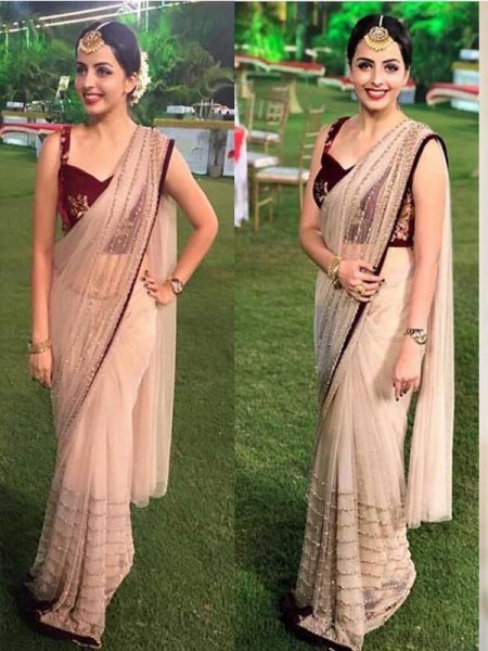Bollywood Cream Color Butterfly Nylone Net With  Welwet Silk Blouse  Branded saree