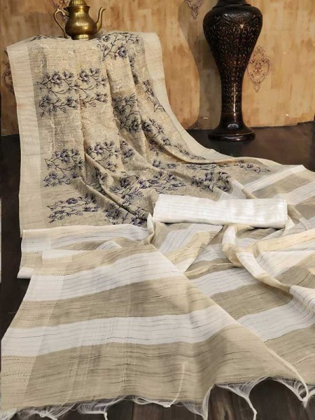 New Trending Multi Colour Bamboo Cotton Weaving Saree With All Over Embroidered Work