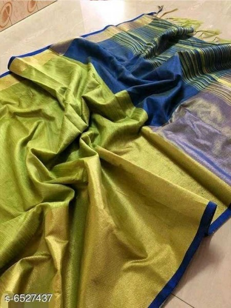 Green Colour Raw Silk Saree With Contrast Pallu And Blouse Piece