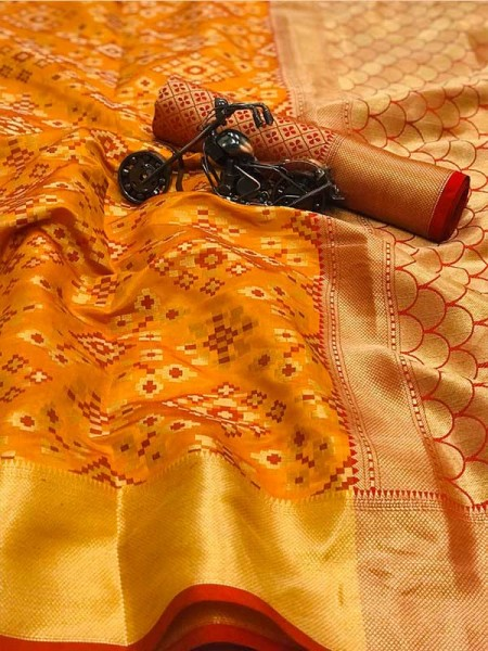 Beautiful Orange Color Heavy Traditonal Patola Saree