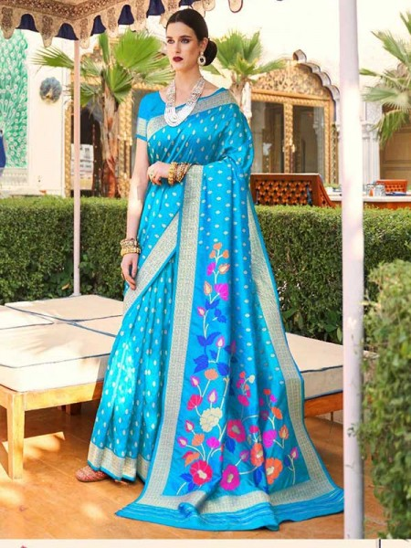 Elegance Look Cyan Colour Handloom Silk Weaving Saree
