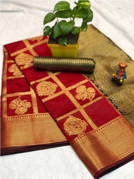 Pretty Look Red Color Banarasi Silk Fabric with Zari work Kanchipuram Saree