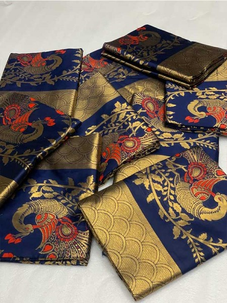 Latest Traditional Look Blue Color Pure  Silk Mina Work  Saree