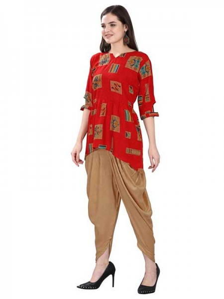 Summer Special Red color Fancy Top With Tulip Patiala