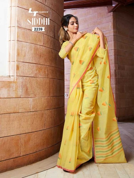 New Trending Yellow Color Linen Cotton Silk Printed Saree
