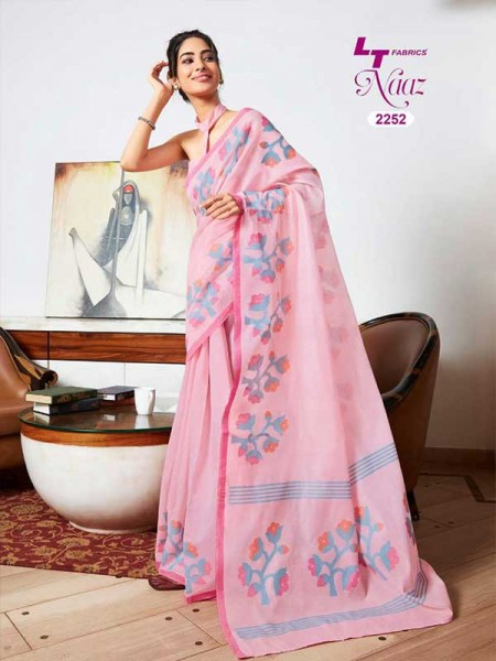 Stunning Pink  Color Soft Cotton Fabric Printed Saree