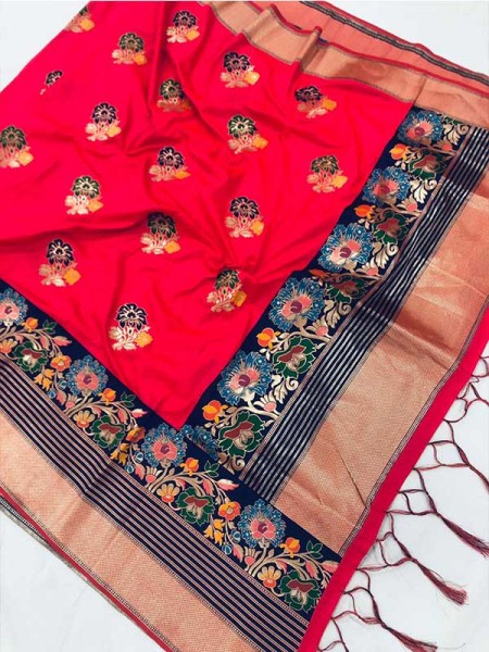 New Eye Catcher Red Color Heavy Pure Paithani Soft Silk Saree