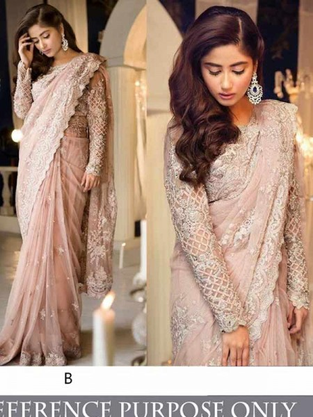 Bollywood Pink Color Butterfly Mono Net With  Tafeta Silk Blouse  Branded saree