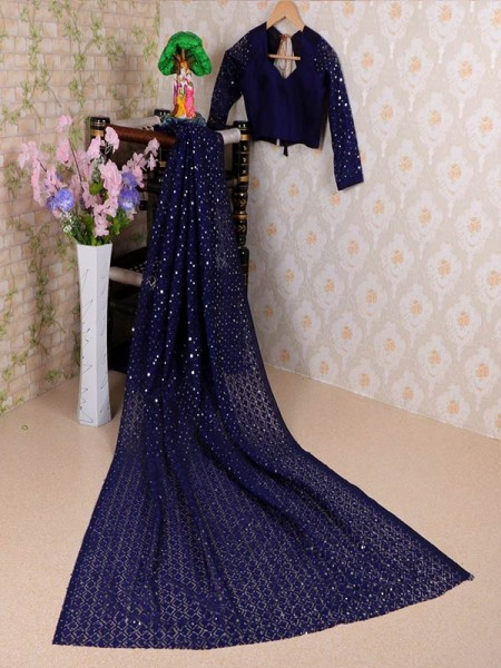 Blue Colored Soft Net Jacquard Saree with Beautiful Sequence work