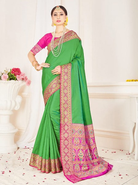 Traditional Look Green Color Soft Pure Silk weaving Saree