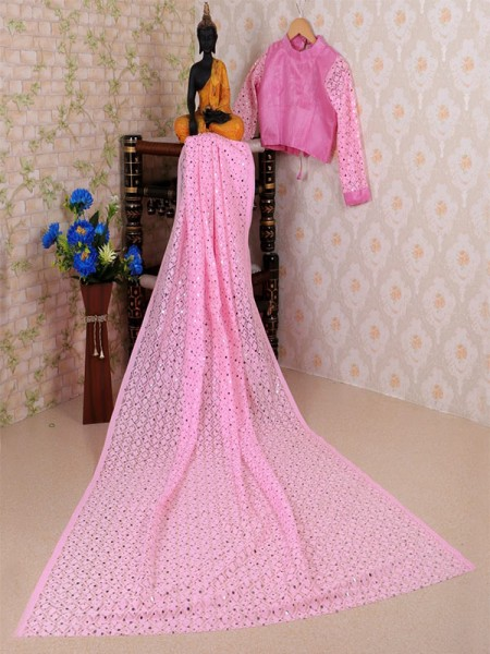 Pink Colored Soft Net Jacquard Saree with Beautiful Sequence work