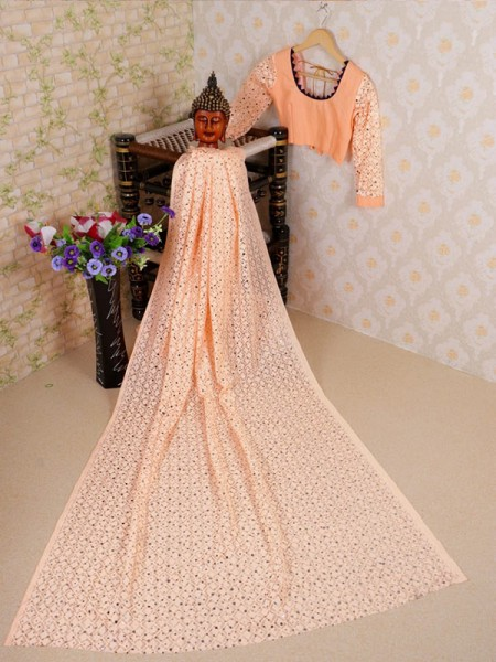 Cream Colored Soft Net Jacquard Saree with Beautiful Sequence work