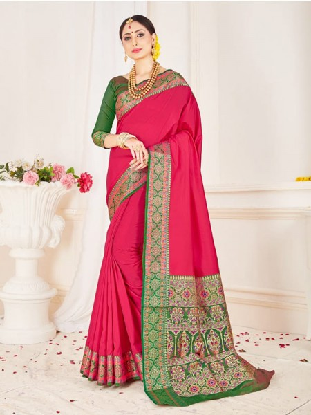 Traditional Look Pink Color Soft Pure Silk weaving Saree