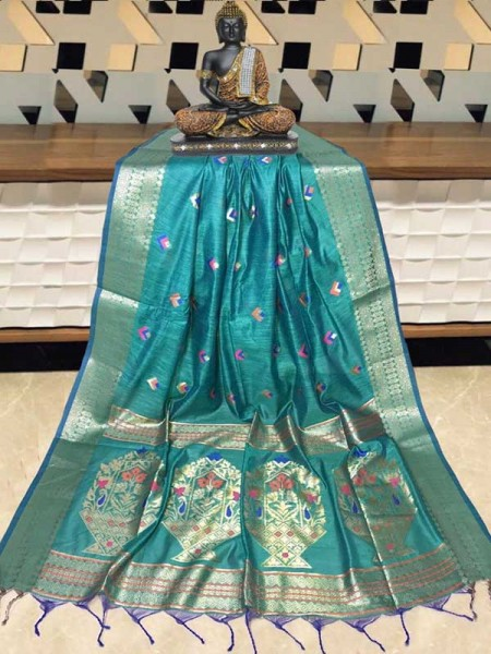 Elegance Look Cyan  Colour Handloom Cotton Weaving Paithani Saree