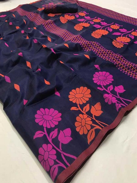 New Trending Purple Color Linen Cotton Silk on Silk Base  Saree