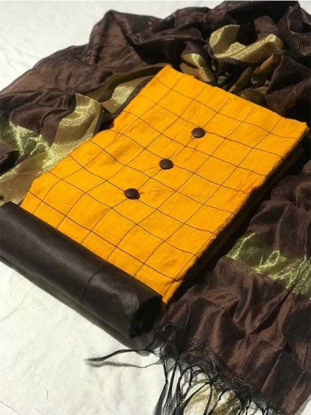 Yellow Color Silk Chex Fabric with COtton Bottom Suit