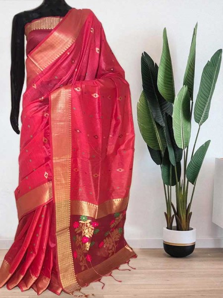 Beautiful Pink Soft Handloom Cotton Weaving Saree With Meenakari Butti And Contrast  Woven Pallu Saree