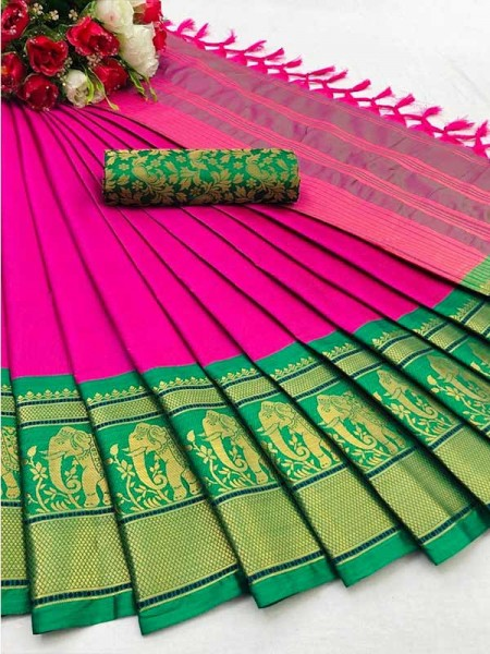 Elegance Look Pink Colour Cotton Silk Saree with Broad contrast border
