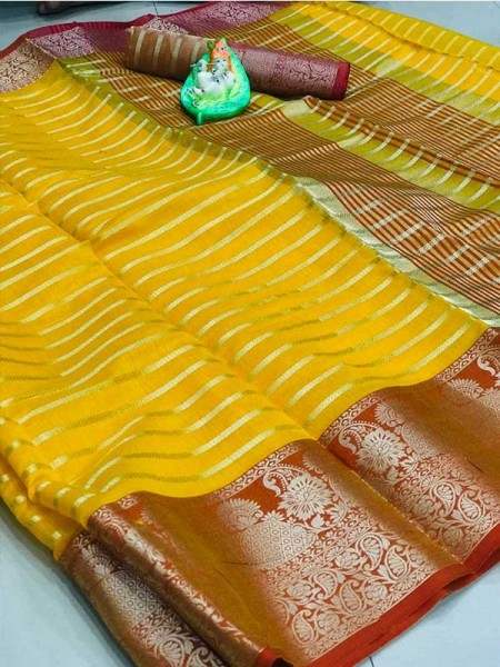 Elegance Look Yellow Colored Soft Cotton Weaving Saree
