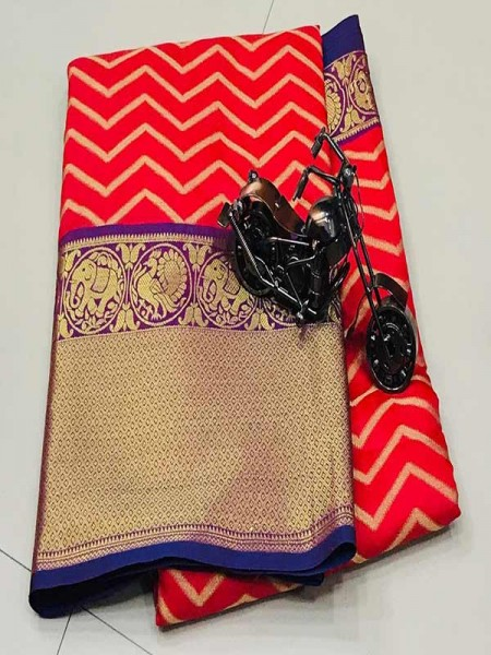 Red Colour Kanchipuram style Banaras weaving Silk Saree with Golden zari Border
