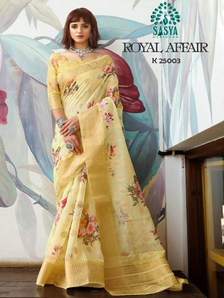 Stunning Look Yellow Color Pure Cotton Printed Saree with Jacquard weaving Border