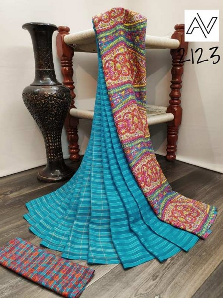 Eye-Catching Look SkyBlue color Viscose Lining GeorgettePrinted Saree