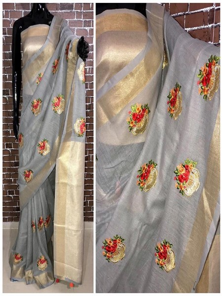 Latest Modern Grey Color Linen Saree with embroidered work all over