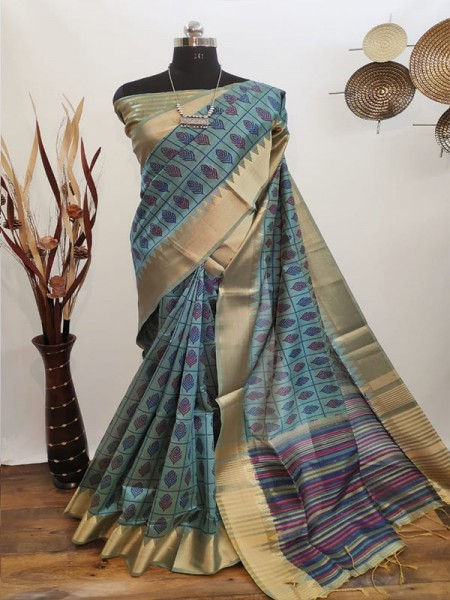New Eye Catcher Multi Color Aasam Silk weaving Ikkat Printed Saree