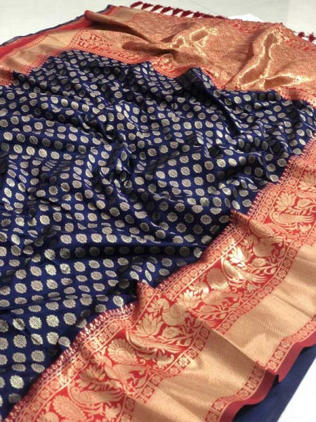 Festival Look Blue Colour  Pure Jacquard Resham Zari Work Vibrant 2 Colours Saree