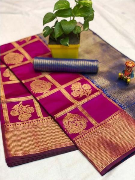 Pretty Look Pink Color Banarasi Silk Fabric with Zari work Kanchipuram Saree