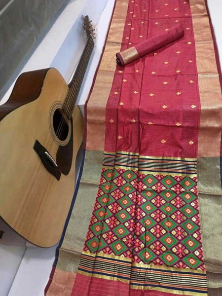 Stunning Pink Color Soft Cotton Silk Saree with weaving