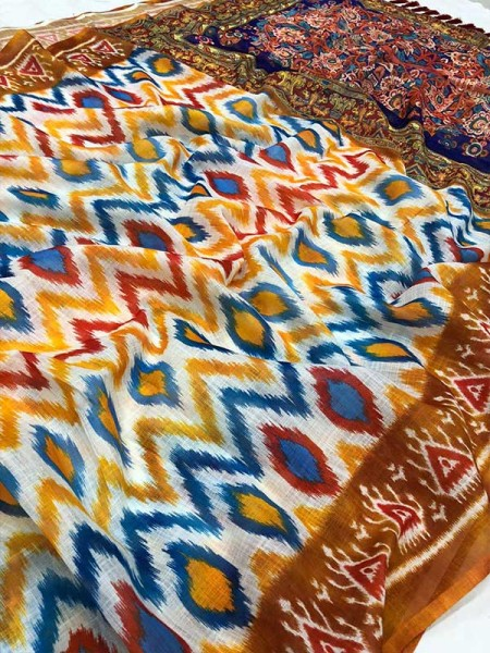 Beautiful Look Multi Color Woven In Linen Embodying Of Vastness Of Bright  Sarees