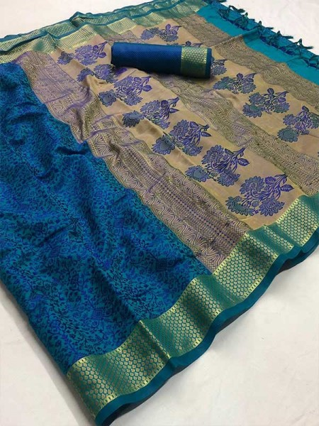 Festival Style Blue Color Self Satin Handloom Weaving Saree