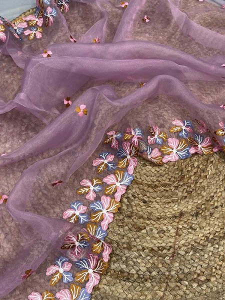 Unique Style Organza Silk Saree with Beautiful embroidery work & Satin Blouse