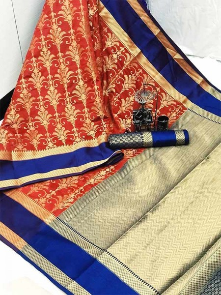 Graceful combination for Wedding Look Red Color Lichi Silk weaving Saree