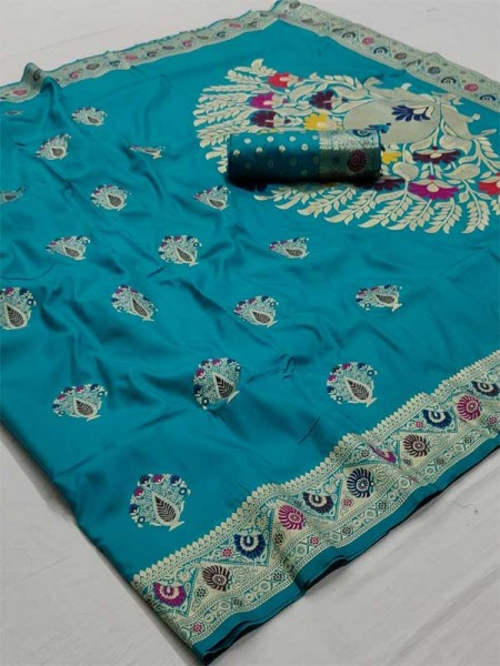 New Eye Catcher SkyBlue Color Soft Weaving Silk With Exclusive Meena Work Saree