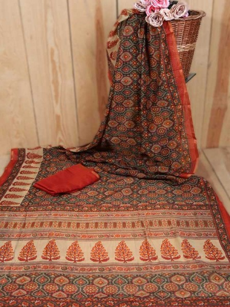 Traditional Look Multi Color Linen Cotton Saree with Beautiful Prints all over